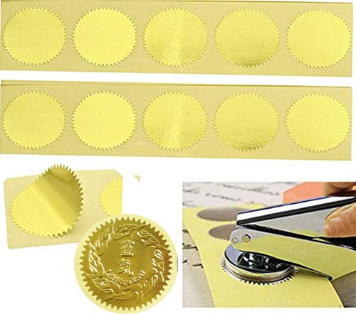 MDLG 100pcs Gold Vintage Embosser Stamp Sealing Blank Certificate Self-Adhesive Stickers (Gold) ()