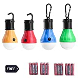 LED Camping Lantern - GEROWA LED Camping Lantern Portable Outdoor Tent Light Bulbs for Backpacking Hiking Fishing Emergency and Outdoor Adventures Emergency 4 Pack Battery Powered with 12 AAA Batteries