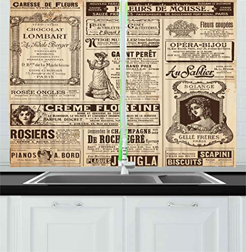 - Ambesonne Paris Kitchen Curtains, Vintage Old Historic Newspaper Journal French Paper Lettering Art, Window Drapes 2 Panels Set for Kitchen Cafe, 55 W X 39 L Inches, Light Brown Caramel and White
