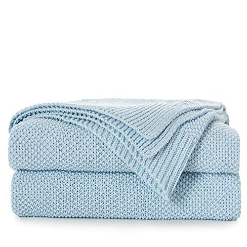 - 100% Cotton Light Blue Cable Knit Throw Blanket with Bonus Laundering Bag - Large 50 x 60
