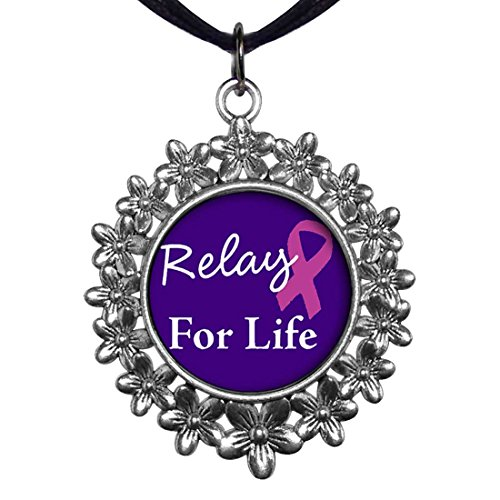 GiftJewelryShop Ancient Style Silver Plate Relay For Life Christmas Wreath Charm Pendant (Relay Plate)