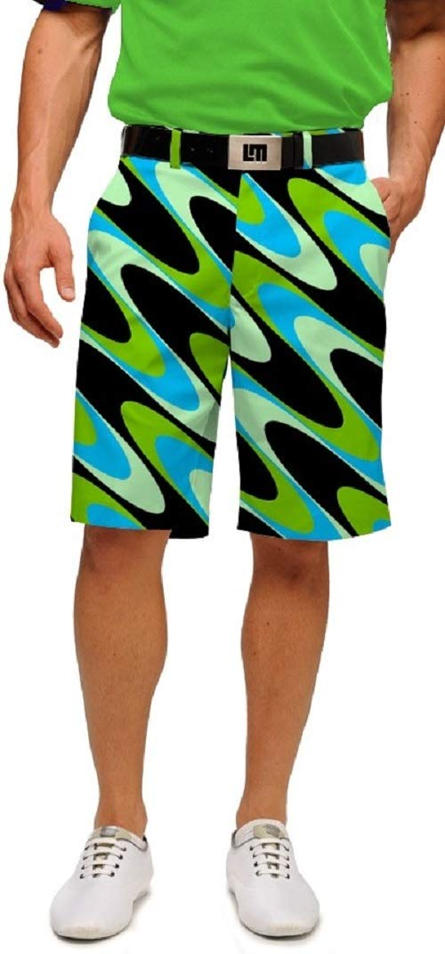 Loudmouth Golf Mens Shorts - Interference Aqua - Size 42