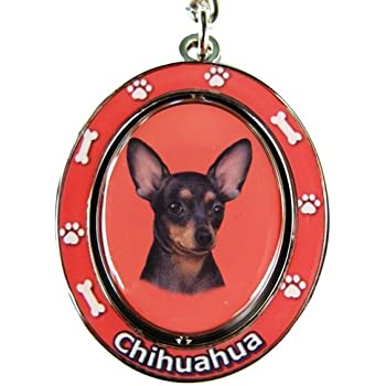 Black PUG Spinning Center Double Sided Key Chain by E/&S Pets