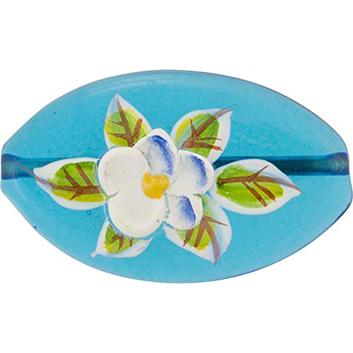Murano Glass Bead Handpainted Porcelain Flowers on Transparent Aqua, 30mm (Oval Murano Glass Pendant)