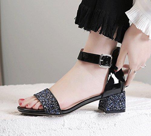 de de Tacón de Cuero Cuero Sandalias Medio Grueso de Hembra de Zapatos Sandalias Tacón Negro Verano RfqxOYxd
