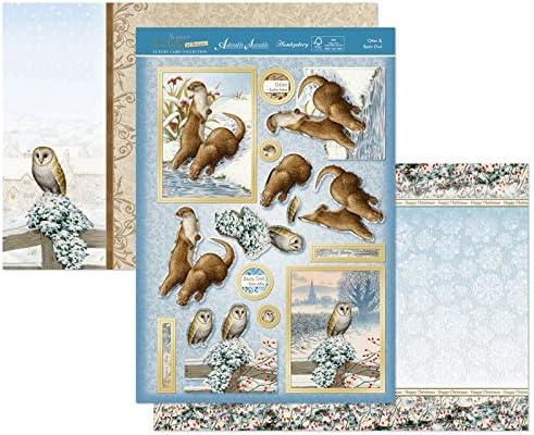 Hunkydory Winter Wildlife of Britain Otter /& Barn Owl Topper Set Card Kit