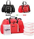 Insulated Meal Prep Cooler Bag - Includes 2 Ice Packs & FREE 4 Portion Control Containers | Travel Insulated Bag | Picnic | Fitness | Meal Management System by FIT, Strong & Healthy (Large, Red)