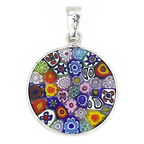 Glass Pendant Millefiori (GlassOfVenice Murano Glass Millefiori Pendant Multicolor in Silver Frame 3/4