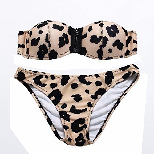 WANGXN serpiente patrón de la mujer bikini de leopardo punto de impresión de la taza del sujetador sujetador del traje de baño traje de baño atractivo dividir skin leopard