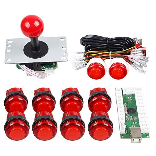 Gamelec Arcade Game Buttons and Joystick Controller Kit for Raspberry Pi and PC Games,1x 5 Pin Joystick and 10x LED Illuminated Push Buttons DIY Kits for Mame,PC and Raspberry Pi 2 3 (Red) (2 Position Push Pull Light Switch Wiring Diagram)