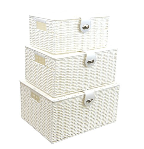 Arpan Set of 3 Resin Woven Utility Storage Basket Box With Lid & Lock (White) (White Wicker Storage Baskets With Lids)