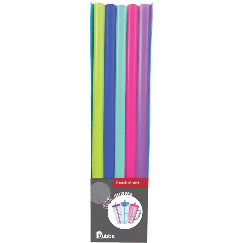 Bubba Big Straws 5ct of reusable straws (Assorted classic colors) - 2 Pack by BUBBA BRANDS