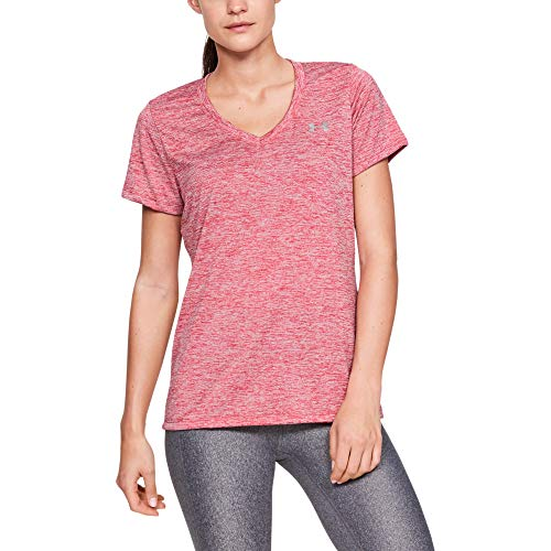 Under Armour Damen - Twist, kurzärmliges & atmungsaktives Laufshirt für Frauen, ultraleichtes T-Shirt mit Loser Passform Tech Short Sleeve V