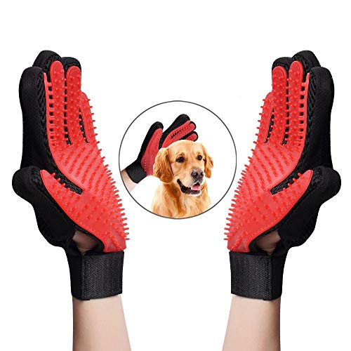 Pet Grooming Glove,Efficient Pet Hair Remover Mitt Gentle Deshedding Brush Bathing Massage Gloves Enhanced Five Finger Design Perfect for Dog & Cat & Horses with Long & Short Fur,1 Pair (RED) ()