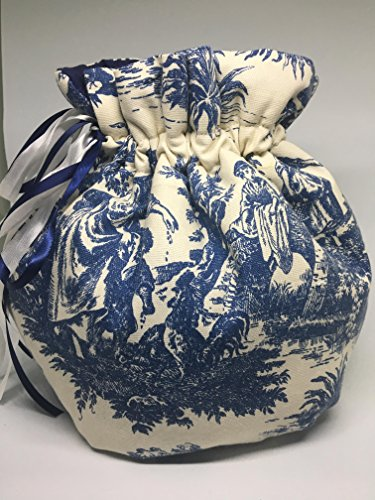 Waverly Square Print (Reversible tea cozy with padded bottom white & blue toile Country life print Wrap style Large 6-10cup)