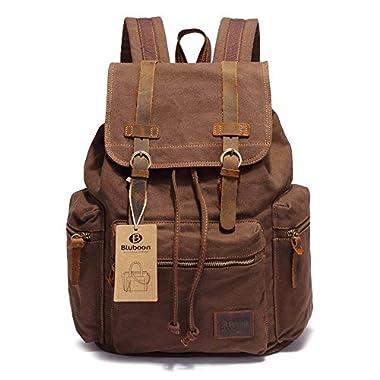 Canvas Vintage Backpack Men Rucksack Bookbag Leather
