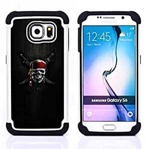 GIFT CHOICE / Defensor Cubierta de protección completa Flexible TPU Silicona + Duro PC Estuche protector Cáscara Funda Caso / Combo Case for Samsung Galaxy S6 SM-G920 // Skull Skeleton Pirate Symbol Sign Swords //