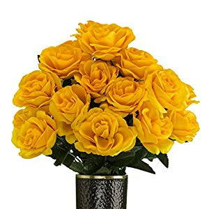 Rubys Silk Flowers Yellow Rose Artificial Bouquet, Featuring The Stay-in-The-Vase Design(c) Flower Holder (SM2086) 61