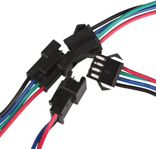 Aveks 20 Set Connector Male Female 4 Pin for 5050//3528 RGB Led Strip Dia 1.6mm