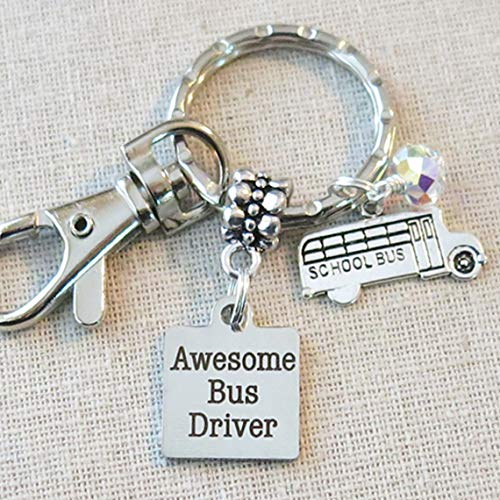 (SCHOOL BUS DRIVER Appreciation Gift, Awesome Bus Driver Keychain Gift Ideas, School Bus Driver Teacher Quote Keychain, School Bus Charm Keychain Gift, Bus Driver Gifts)