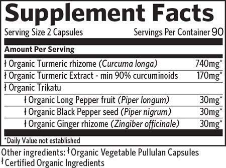 ORGANIC INDIA Turmeric Curcumin, 180 Veg Capsules Packaging May Vary
