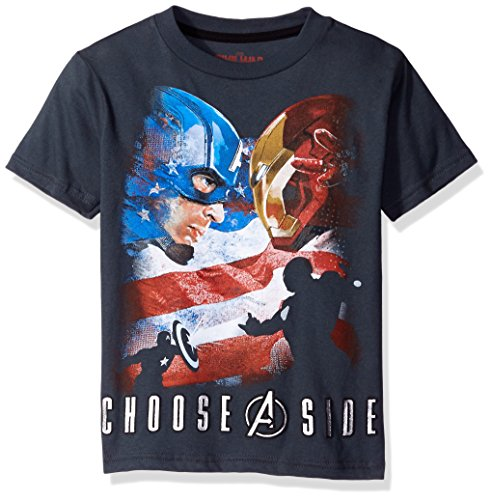 Marvel Boys' Captain America T-Shirt, Charcoal, 5/6 (America Clothes Kids compare prices)