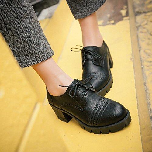 Latasa Dames Lace-up Dikke Hakken Oxford Schoenen Zwart