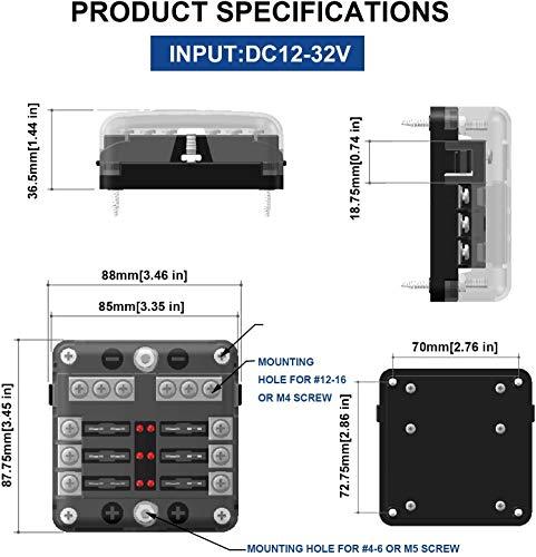 51SvzkJFUrL BlueFire Aufgerüstet 6 FachSicherungshalter, 30A 9-32V Unabhängiger Betrieb KFZSicherungskasten, mit 12PCS Sicherung + LED Warnleuchten für KFZ Auto Wohnmobil Marine Boot Trike