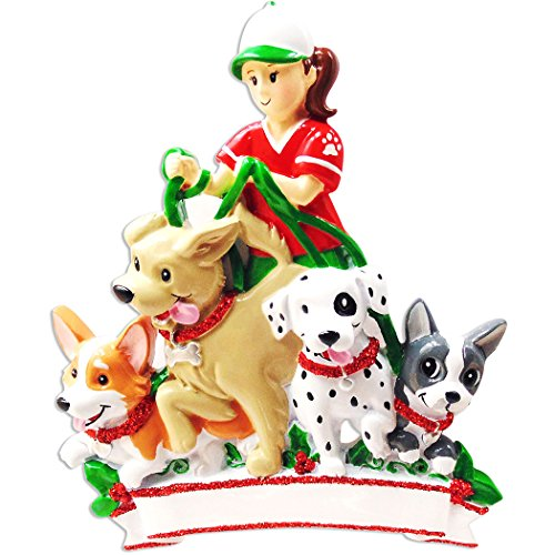 Personalized Dog Walker Christmas Tree Ornament 2019 - Pet Sitter Girl Walking Many Dogs First Job Puppy Parade Care Love Profession Best Daily Exercise Breed Expert Park Gift - Free Customization ()