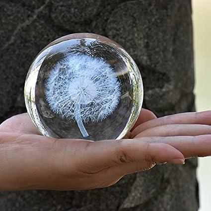 qianyue Kristall L/öwenzahn Ball Figurine Feng Shui B/üro Dekorative Sturm Glaskugeln Ornamente L/öwenzahn Statue Handwerk 60mm