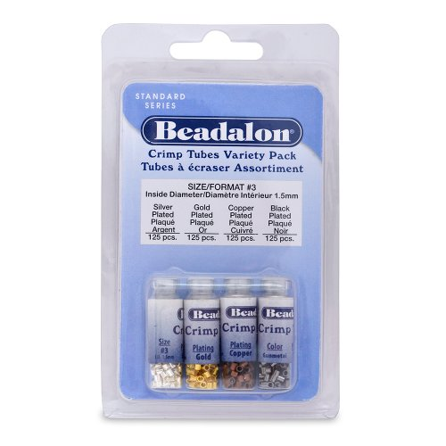 Beadalon Crimp Tube Variety Pack #3 Nickel Free Silver, Gold Copper Gunmetal, 500-Piece