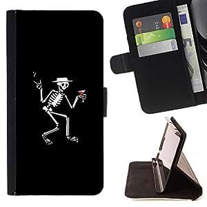 Momo Phone Case / Flip Funda de Cuero Case Cover - Skeleton Martini - Funny - Samsung Galaxy J1 J100