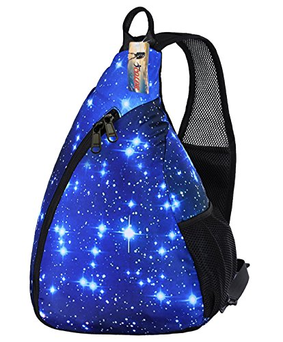 iColor Sling Bag - Small Crossbody Backpack 15L Sports Outdoor Multipurpose CrossBody Backpack with Phone/Bottle Sleeve Carrier for Men Women Kids Hiking Cycling Walking Dog Bicycle Trave (Blue Sky)