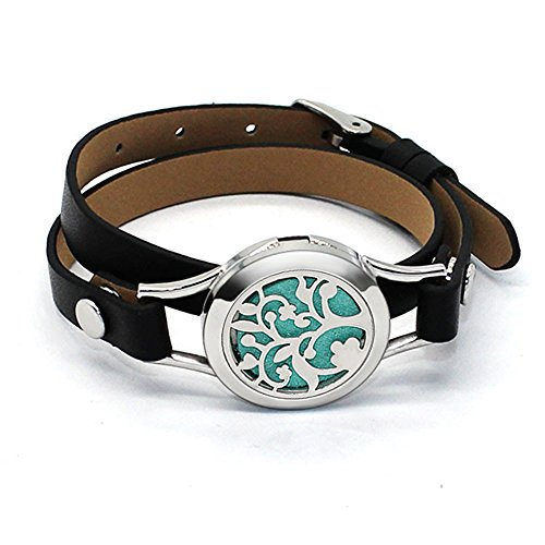 Aromatherapy Oil Diffuser Locket Bracelet Leather Band With 10 Felt - Titanium Glasses Benefits