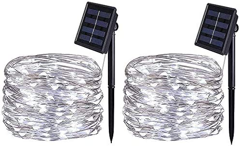 [2 Pack] BOLWEO Solar Powered String Lights,Solar Garden Lights Outdoor,16.4Ft 50LEDS,Waterproof Wire Lighting for Indoor Outdoor Christmas Tree Halloween Home Garden Decoration(Cool White)