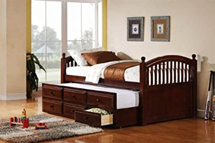 Amazon.com: Coaster 400381T Captains Twin Daybed With Trundle And ...