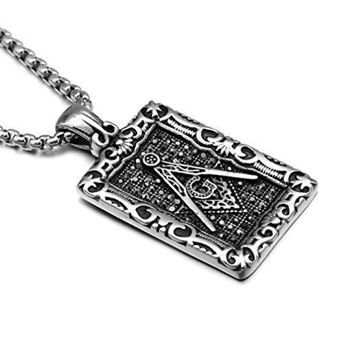 EZSONA Men's Stainless Steel Silver Freemason Symbol Masonic Dog Tag Pendant Necklace 24
