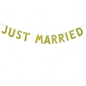 ce56f4ae21d Amazon.com: Vilight JUST Married Banner Car Sign - Gold Glitter ...