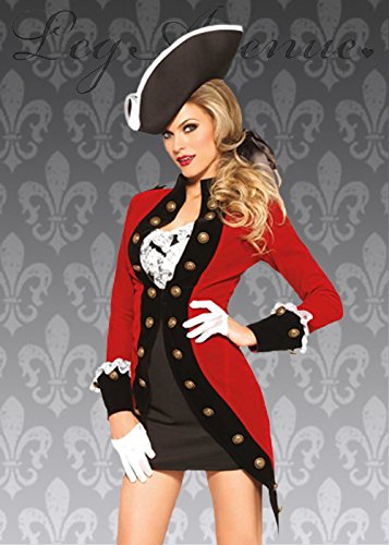 Ladies Capitán gancho estilo rojo pirata disfraz S (UK 8 ...