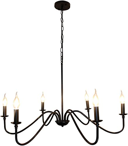 Sivilynus 6 Lights Black Contemporary Chandelier Farmhouse Classic Ceiling Hanging Light Fixture for Dining Room Living Room Bedromm Foyer Kitchen Island