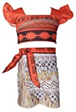 KIDHF WNQY Moana Dress Set Girls Party Princess Cosplay Halloween Beach Costume
