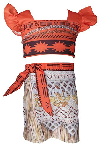 WNQY Moana Dress Set Girls Party Princess Cosplay Halloween Beach Costume (As Picture,90/2-3Y) (90's Kid Halloween Costume)