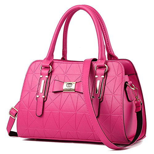 YiYiNoe PU Leather Womens Handbag Top Handle Satchel Handbags Tote Purse for Lady Hot Pink ()