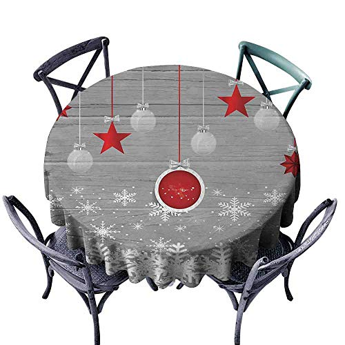 HCCJLCKS Easy Care Tablecloth Christmas Traditional Celebration Theme with Pendant Stars Baubles Ornate Snowflakes Picnic D67 Grey Red White