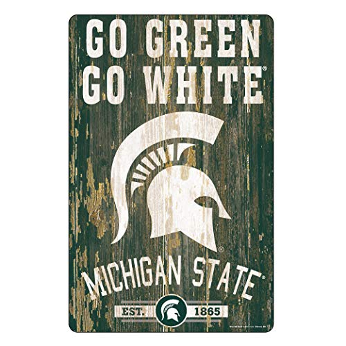 WinCraft NCAA Michigan State Spartans 11x17 Wood Sign, Team Color, One Size