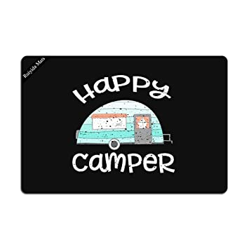 Amazon Com Happy Camper Retro Trailer Rv Caravan Camping Doormat