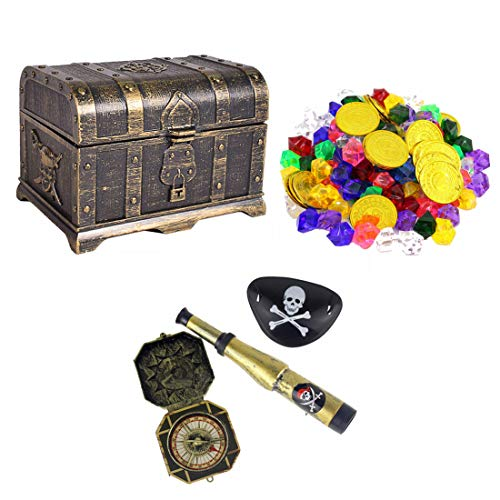 Haoun Treasure Chest with 275 Pcs Pirate Toys Gold Coins and Pirate Gems Jewelry Playset,3 Pcs Pirate Role Play Set
