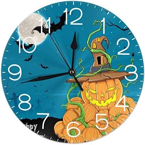 Halloween Pompoen Vleermuis Ronde Wandklok Stille Niet Ticking Batterij Operated 95 Inch voor Student Office School Thuis Decoratieve Klok Art