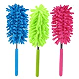 "3 Pack Microfiber Duster with Extension Pole Reach 30"" Extendable Hand Dusters Washable Dusting Brush Retractable Set with Hypoallergenic Large Microfiber Head for Cleaning Car, Ceiling Fans, Cobweb."