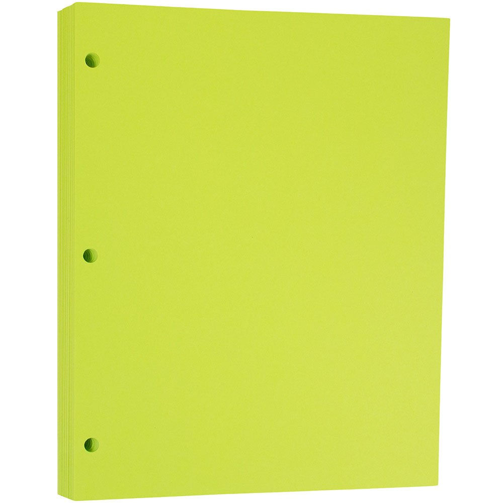 JAM PAPER 3 Hole Punched 24lb Paper - 8.5 x 11 Letter - Ultra Lime Green - 100/Sheets Pack